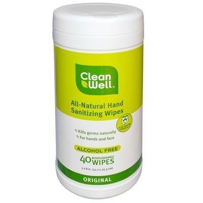 Cleanwell All Natural Original Hand Sanitizing Wipe - 40 per pack - 2 packs per case. ()