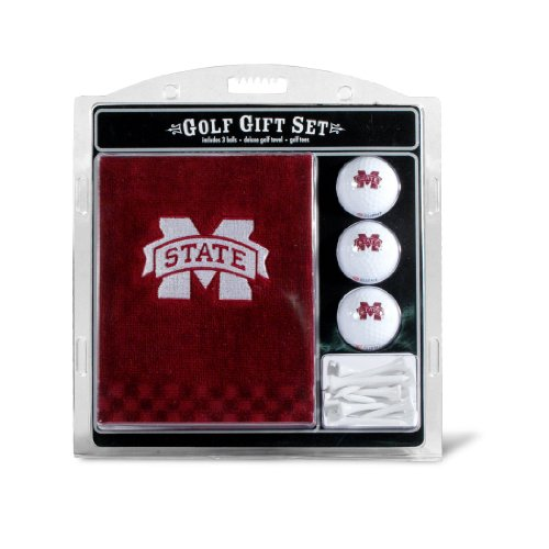 Team Golf NCAA Mississippi State Bulldogs Gift Set Embroidered Golf Towel, 3 Golf Balls, and 14 Golf Tees 2-3/4