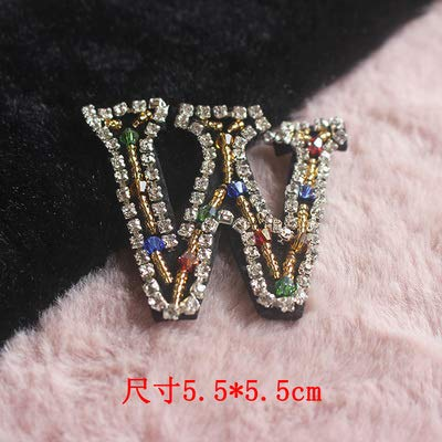 Shoppy Star 26 English Letters Shinning Beads Patches for Clothing DIY sew on Sequin Rhinestone parches Beaded Applique Patches: W