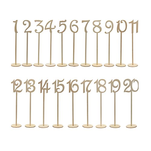 Wedding Table Numbers - Tinksky 20pcs 1-20 Wodden Table Numbers Stick for Wedding Decoration ()