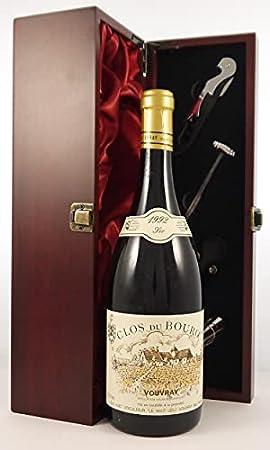 Domaine Le Haut Lieu Clos Du Bourg 1992 Vouvray Gaston Huet en una caja de regalo forrada de seda con cuatro accesorios de vino, 1 x 750ml