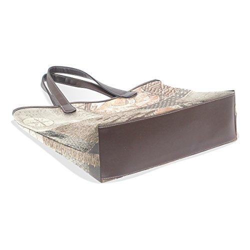 Coosun Womens Emblem Rigging Pu Leder große Einkaufstasche Griff Umhängetasche