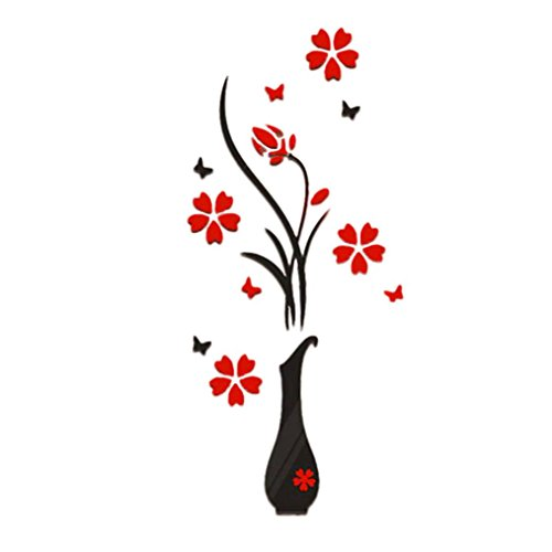HHei_K DIY Vase Flower Tree Crystal Arcylic 3D Wall Stickers Decal Home Room Decor (Black) (Crystal Flower Wall Decor)