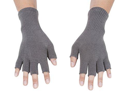 Acrylic Fingerless Gloves - Gravity Threads Unisex Warm Half Finger Stretchy Knit Gloves, Grey