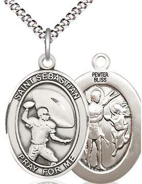 Football St 3//4 tall Sebastian Medal in Fine Pewter 18 Rhodium Plated Clasp Chain