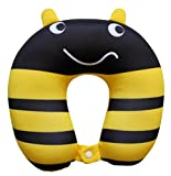 Nido Nest Kids Travel Neck Pillow - Best for Long Flights, Road Trips & Birthday Gifts For Kids - U-Shaped Pillows Sized for Toddler, Preschool, Kindergarten, Elementary Children - BUMBLEBEE