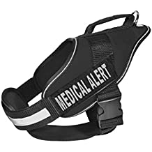 Dogline Alpha Nylon Service Vest Harness with Medical Alert Velcro Patches, X-Large, Black