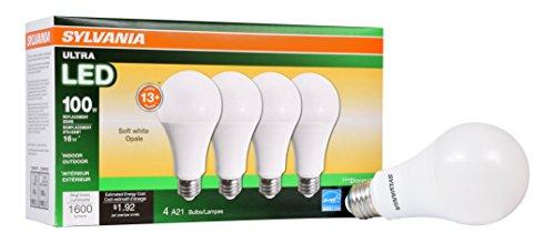 2.625 Led - SYLVANIA General Lighting 73188 Sylvania Dimmable Led Light Bulb, 16 W, 120 V, 1600 Lumens, 2700 K, CRI 80, 2-5/8 in Dia X 5.15 in L, Soft White, 4 Piece