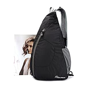 OutdoorMaster Packable Sling Bag - Small & Lightweight Foldable Crossbody Travel/Hiking Backpack for Men & Women - with Hidden Anti-Theft Pocket (Black)