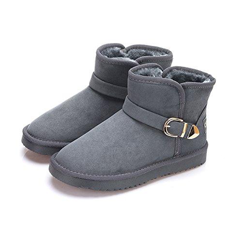 Shoes Warm Thickening Boots Dark Anti Women's BERTERI Grey Snow Plush Winter Slip XqRYawC