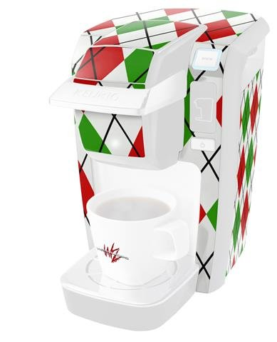 Argyle Red and Green - Decal Style Vinyl Skin fits Keurig K10 / K15 Mini Plus Coffee Makers (KEURIG NOT INCLUDED)