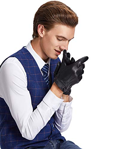 Sheeper Men's Touchscreen Texting Genuine Leather Driving Gloves Motorcycle Gloves (Black) M by Sheeper (Image #2)
