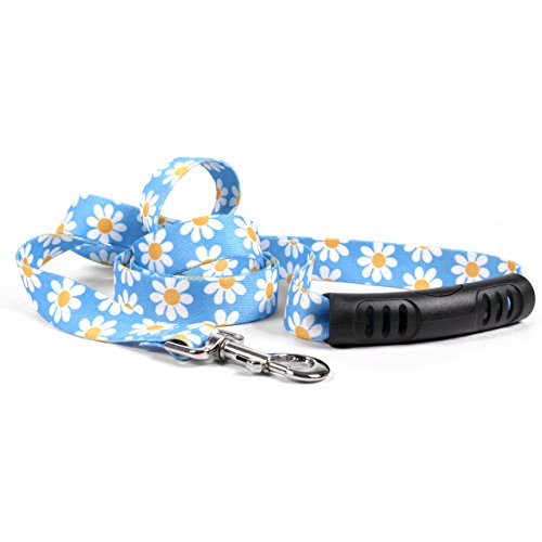 - Yellow Dog Design Blue Daisy Ez-Grip Dog Leash with Comfort Handle 3/4