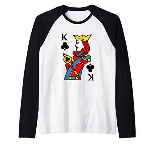 King of Clubs Playing Card Costume Halloween Deck of Cards  Raglan Baseball Tee -