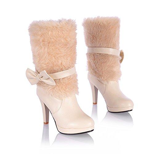 Lucksender Womens Style Doux Couleurs Assorties Stiletto Bottines Avec Noeud Bowknot Beige