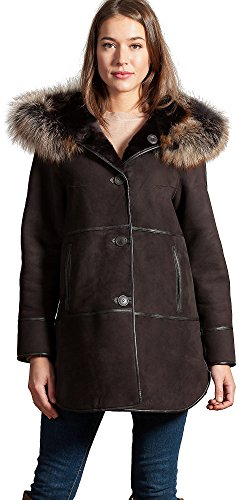 Overland Sheepskin Co Jasmine Reversible Spanish Merino Shearling Sheepskin Coat With Fox Fur Trim (Reversible Overland Coat)