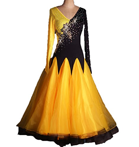 Ballroom Dance Dresses Long Sleeve Practise Dance Rhinestone Competition Dresses Modern Waltz Tango Smooth Ballroom Dance Costumes For Women Flamenco Dresses Showcase Dance (Dance Costumes Rhinestone)