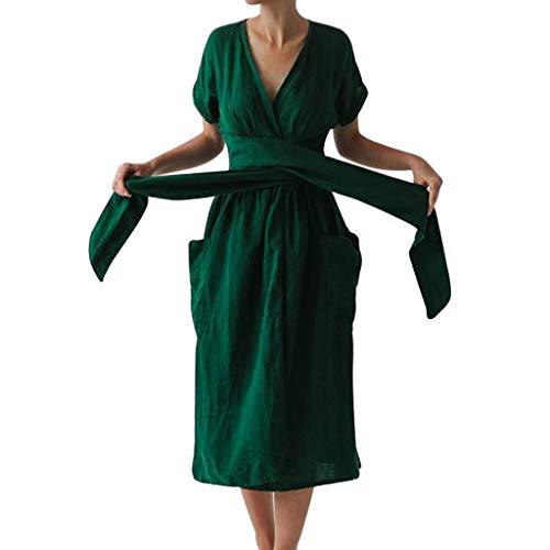 Veodhekai Womens Plus Size Dress Fake Plaque Solid Color Dress Long Dress V Neck Lace-up Summer Pocket Green