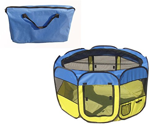 All-Terrain' Lightweight Easy Folding Wire-Framed Collapsible Travel Pet Playpen- Light Blue And Light Yellow , Size:=Large,Home, garden & living||Pet supplies||Crates & Accessories