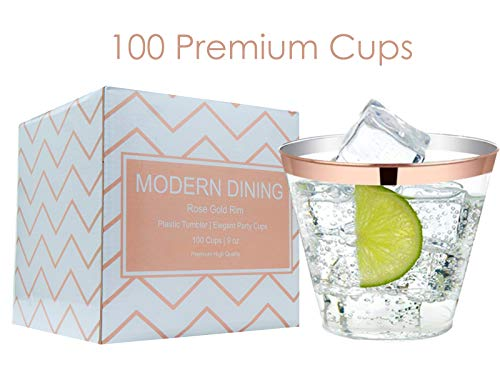 (Modern Dining | 100 Rose Gold Plastic Cups 9oz Rimmed Clear Premium Fancy Tumblers Disposable High Quality Elegant Party Plastic Cups for All Dinner Parties)