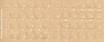 Aramedia China - Pegatinas para Teclado Bopomofo Transparentes, Etiquetas - superposiciones con Caracteres Blancos para Teclado de Ordenador Negro