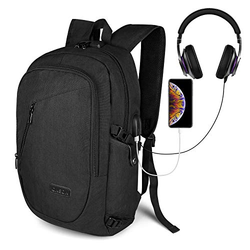 Travel Laptop Backpack, ONSON Laptop Backpack Anti Theft Business Backpack for Men Women, Slim Computer School Bag with USB Charging Port Fits 15.6 Inch Laptop Notebook – Black