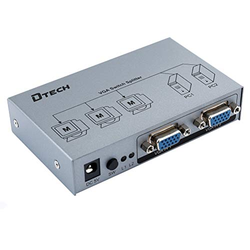 DTECH 2 Input 3 Output VGA Video Switch and Splitter (2 PCs Sharing 2/3 Monitors) 1920x1440 Resolution and Extends Video Signal up to 278ft ()