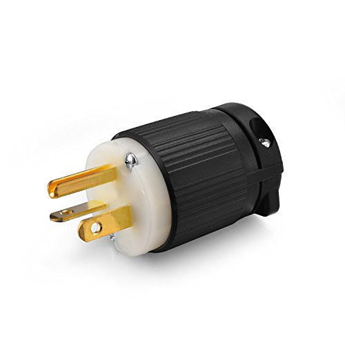 Aweking UL Listed NEMA 5-20P Plug Connector Male,20A 20 Amp,AC 125V 125 Volt,2 Pole-3 Wire,Grouding,Straight Blade,Black White,Copper Pins