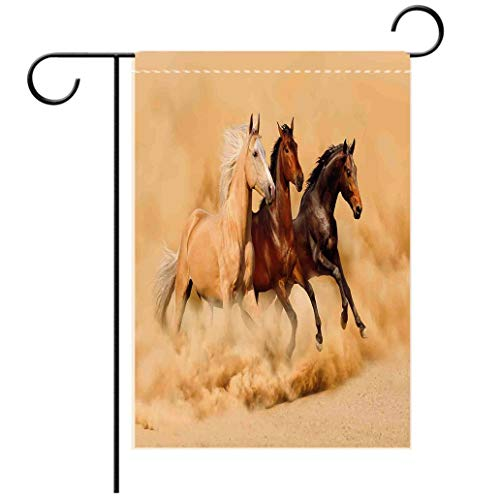 - Polyester and linen Garden Flag Outdoor Flag House Flag BannerHorses Three Horse Running in Desert Storm Mythical Mystic Messenger Animals Habitat Print Creadecorated for outdoor holiday gardens