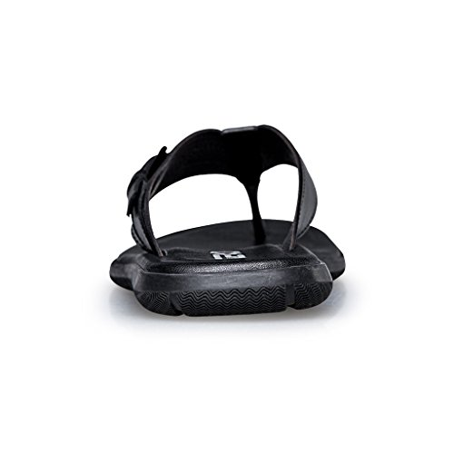 Zro Mens Bekväm Sommar Strand Läder Sandal Promenad Flip Flops Svart