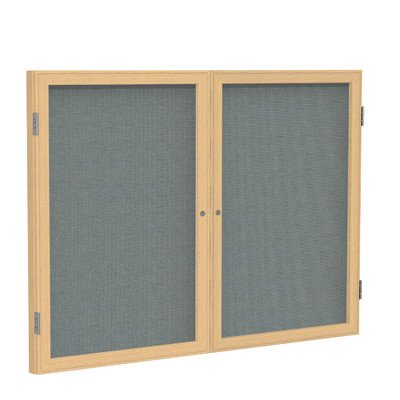 2 Door Enclosed Bulletin Board Size: 3' H x 5' W, Surface Color: Gray, Frame Finish: - Fabric Color Frame Oak