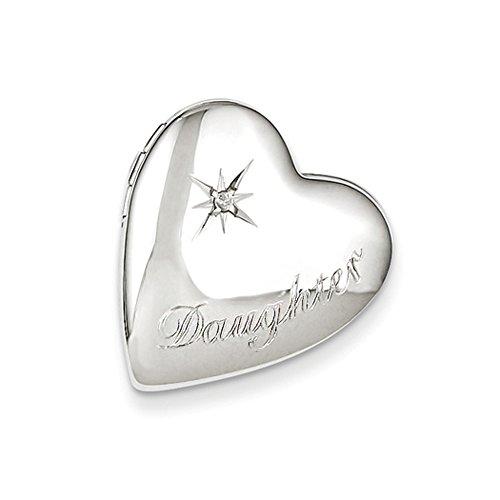Slide Locket Heart (20mm Daughter Diamond Heart Slide Locket in Sterling Silver)
