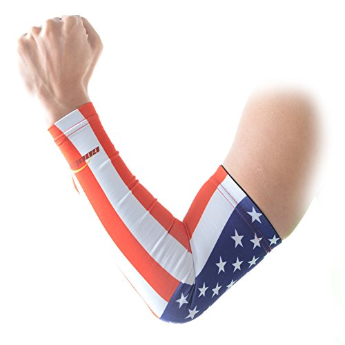 COOLOMG Youth Anti-Slip Arm Sleeves Cover Skin UV Protection Sports Adult, USA Flag, (American Protection)