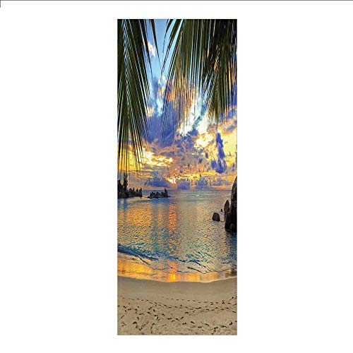 3D Decorative Film Privacy Window Film No Glue,Coastal Decor,Sunset at Beach Rumbling Ocean Luxurious Resort with Palm Trees Travel Locations Picture,for Home&Office - Trees Coastal Palm Decor