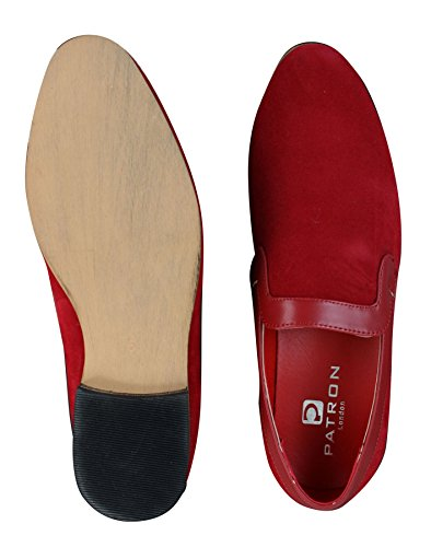 bleu Rouge homme daim marron tendance à style PU rouge décontracté en Mocassins enfiler UAx8nwqAF