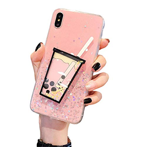 (BONTOUJOUR iPhone X/iPhone XS Case, Creative Lovely Pearl Milk Tea Cup Case, Bling Glitter Moving Sand Flowing Liquid Brilliant Soft TPU Clear Transparent Back Cover Case-Pink)