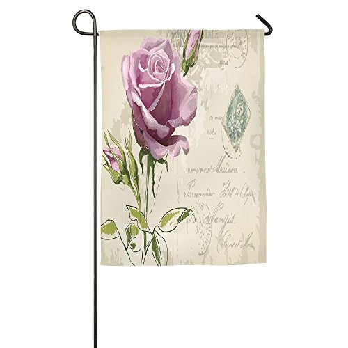 cjdngh Vintage Postcard Design With Delicate Rose Blossom Hand Drawing Artsy Print Decorative Home Flag Garden Flag Demonstrations Flag Family Party Flag Match (Fairy Cow Print)