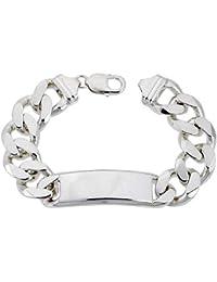 Very Large Sterling Silver Italian ID Bracelet Cuban Link 5/8 inch wide NICKEL FREE, sizes 8 - 9 inch