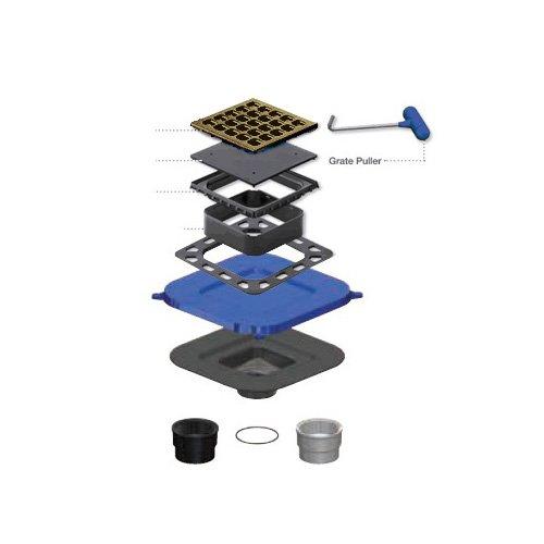 "USG Durock 4"" Square Shower Drain Kit - Antique Copper Grate"