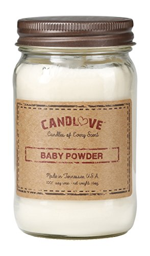 CANDLOVE Baby Powder Scented 16oz Mason Jar Candle 100% Soy Made in The USA