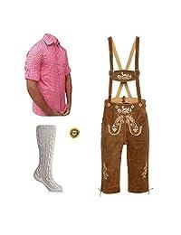 Mens Bavarian Trachten Oktoberfest Party Outfit | Leather Lederhosen Shirt & Socks