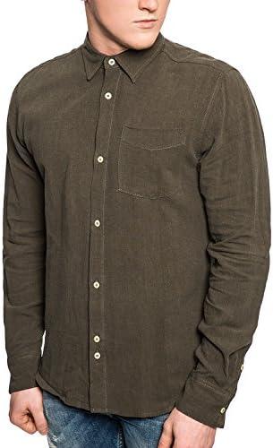 Bellfield - Camisa para hombre (lino, militar, con botones, estilo casual, color caqui Verde caqui M: Amazon.es: Ropa y accesorios