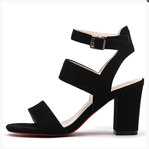 Moda Mujer verano sandalias confortables tacones altos,35 en polvo Black