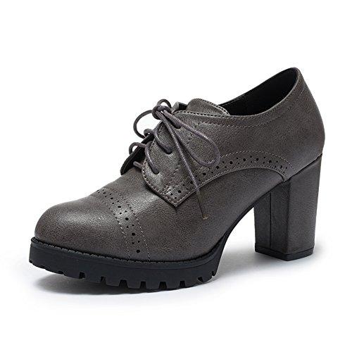 PUMPS Damen High Heels,Dick mit Tiefen Spitzen Schuhe-B Fußlänge=21.8CM(8.6Inch)