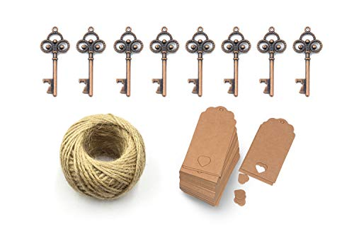 Yansanido Pack of 50 Skeleton Key Bottle Opener for Wedding Favors with Escort Tag Card and Twine for Guests Party Favors Gift & Decorations (A Red Copper)
