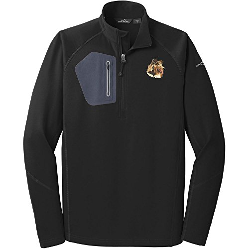 - Cherrybrook Dog Breed Embroidered Eddie Bauer Mens Half Zip Performance Fleece Jacket - Large - Black - Collie