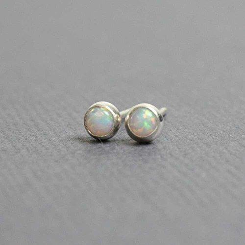 Tiny Opal Stud Earrings, Small 3mm Lab Opal Post Earrings, Sterling Silver