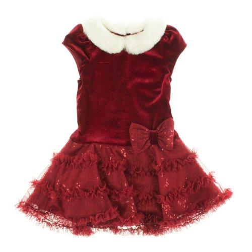 Jona Michelle Baby Velvet Drop Waist Flared Tutu Dress Set (Red, 6M)