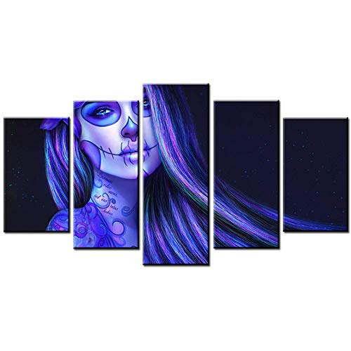 FJNS Prints On Canvas 5 Panels Pieces Multiple Pictures, Girl Halloween Makeup Blue Hair Giclee Printed on Canvas, Posters Wall Decorations Gifts,A,20×35×2+20×45×2+20×55×1 ()