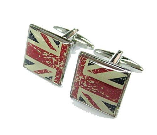 Mens Executive Cufflinks European Traveler Split Vintage Union Jack British Flag Cuff (British Flag Cufflinks)